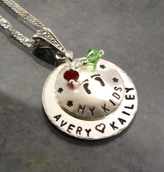 "Personalized Mommy Necklace with Baby Feet - ""My Kids"" Sterling Silver Pendant -  Hand Stamped - Names - Footprints - For Mother's Day"