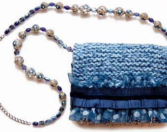 Sheer Sky purse with ruffles and beads