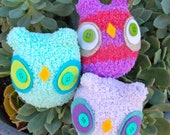 Set of THREE- chubby baby owls CUSTOM