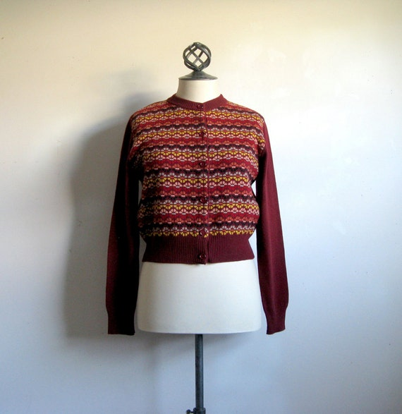 Colors of Benetton VIntage Sweater Crop Maroon Womens Cardigan Small
