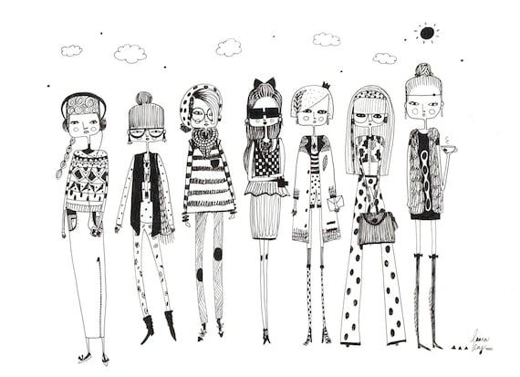 Original fashion illustration,fashion drawing, fashion art, quirky girls, girls room art, girl art