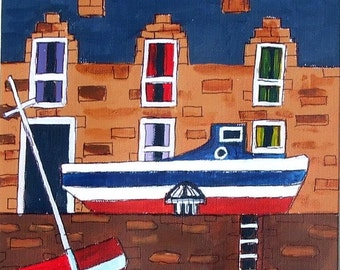 Gourden boats,Aberdeenshire, East of Scotland, an Original Acrylic painting on paper.