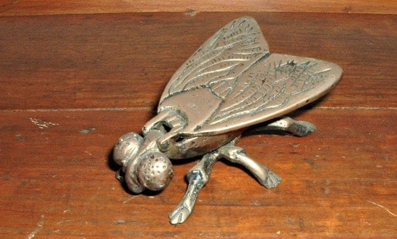 Vintage Fly Ashtray Box Metal Hinged Figural Bug Insect Hidden Storage