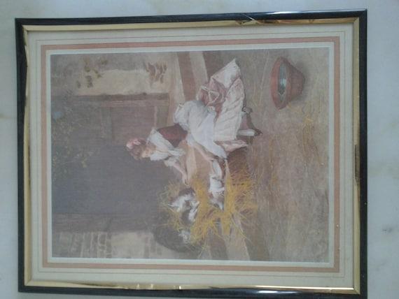 Romantic Framed Print of 1800s Farm Maid Giving Milk to Kittens