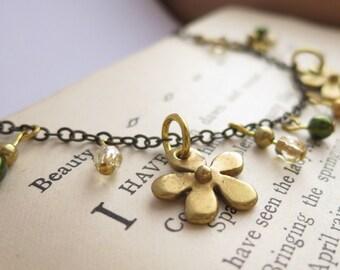 Charm Bracelet, Handmade Gold Flower Charm Bracelet, OOAK Bracelet, Australian Bracelet, Handmade Jewellery Australia, Daisy Bracelet