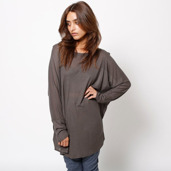 Womens Clothing  grey top oversized tunic