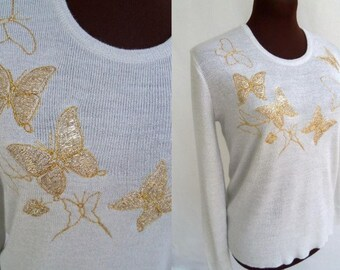 Vintage 60s Sweater Silver Metallic Knit with Gold Embroidered Butterflies Novelty Sweater Size M