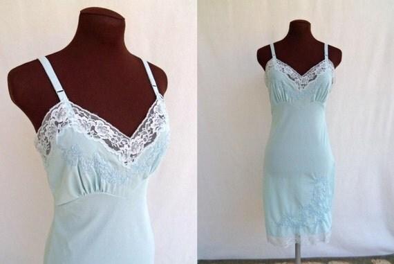 Vintage 60's Full Slip Pastel Blue Nylon  XS Lingerie