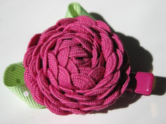 Pink Flower Hair Clip, Ric Rac, Rosette - Pink Hair Barrette- Toddler, Girl