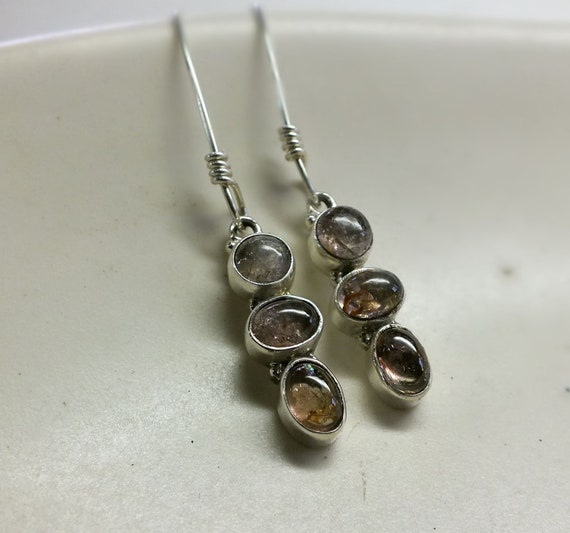 Three Stone Pink Tourmaline and Sterling Silver Drop Earrings
