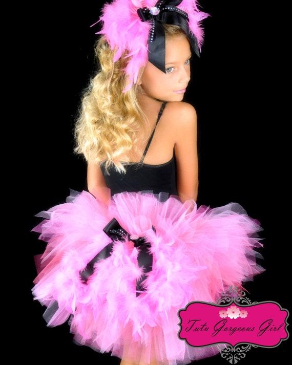 Pink Flamingo Bustle Tutu...Halloween Flamingo Costume, Pageant, Dance Recital Tutu...Toddler, Girls Sizes . . . FANCY FLAMINGO