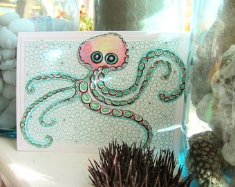 "Octopus Ink Drawing - Hand Drawn Card - Pink and Mint Nursery Wall Art - Octopus Art - Paper Cut Out Octopus Card - ""Worry Wart"""