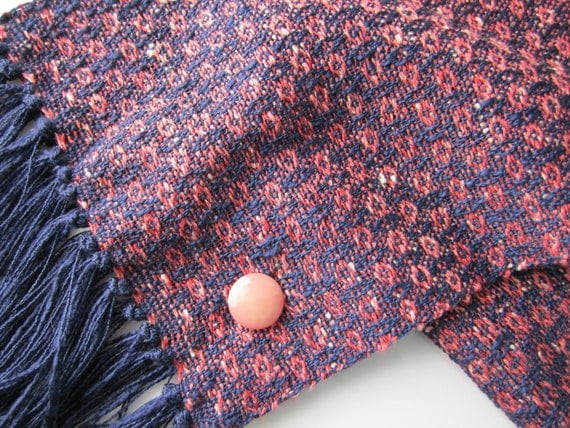 Twilight Pink Scarf - Hand Woven Scarf - Pink and Blue - Rayon and Cotton - Handloom Woven Scarf