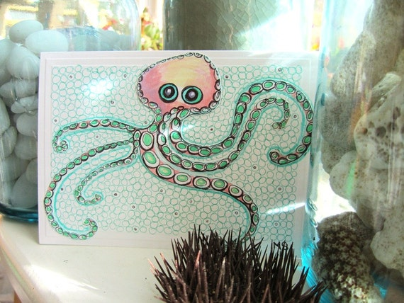 """Octopus Ink Drawing - Hand Drawn Card - Pink and Mint Nursery Wall Art - Octopus Art - Paper Cut Out Octopus Card - """"Worry Wart"""""""