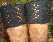 Boot Toppers - Black Scalloped Feather & Lace
