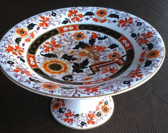 Ashworth Ironstone China Pedestal Compote. Intricate Imari. Flowers Urn Orange Gilt Black Navy. 8.75 in x 5 in Tall. 1862. Autumn Halloween!