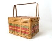 Vintage Wicker Sewing Basket ... Picnic Basket, Red and Green, Woven, Bamboo, Farmhouse, Cottage - cushionchicago