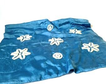 Vintage Satin Cobalt Blue Baby Blanket ... Needlepunch Flowers Circles, Blue and White, Folk Art Wall Hanging, Modern Country Lap Blanket