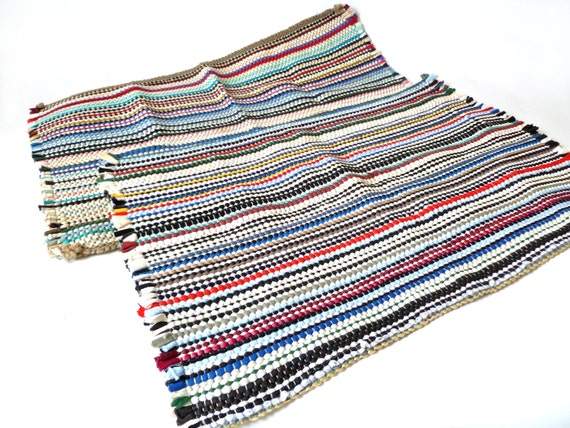 Pair Vintage Rag Rugs Multi Color Bath Mat Rainbow