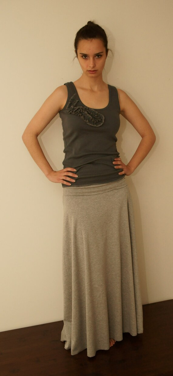 Maxi Skirt in Jersey Knit of Heather Grey with Long Foldover Waist -- Made to Order - Ships Within a Week