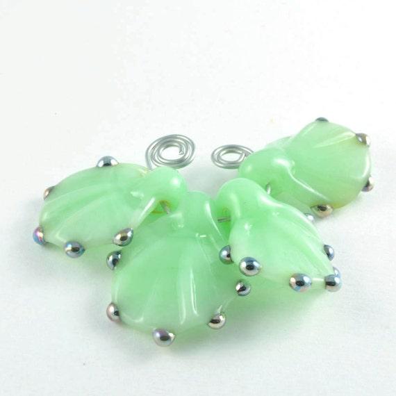 Opal Green Leaves : Handmade Lampwork Beads