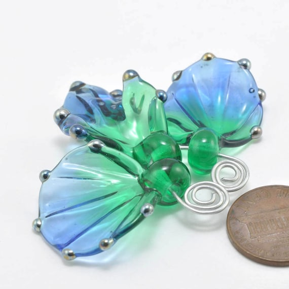 Blue & Green Broad Leaves : Handmade Lampwork Beads