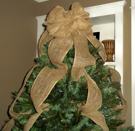 burlap christmas tree topper bow ready to ship full tree. Black Bedroom Furniture Sets. Home Design Ideas