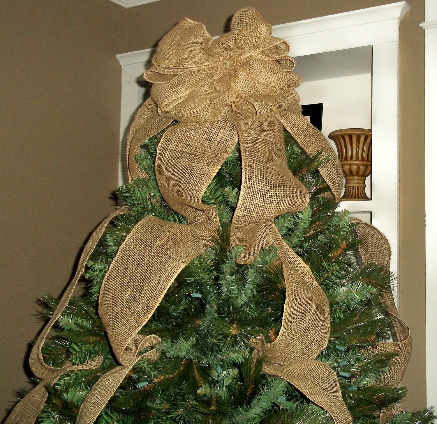 Burlap christmas tree topper bow ready to ship full tree for Burlap ribbon on tree