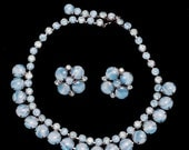 ON SALE STUNNING Blue Opalesque Necklace Set Wow