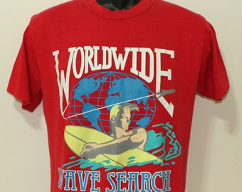 Worldwide Wave Search vintage Top Half red t-shirt Medium/Large
