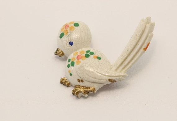 White and Pastel Bird Brooch - Free U.S. Shippin