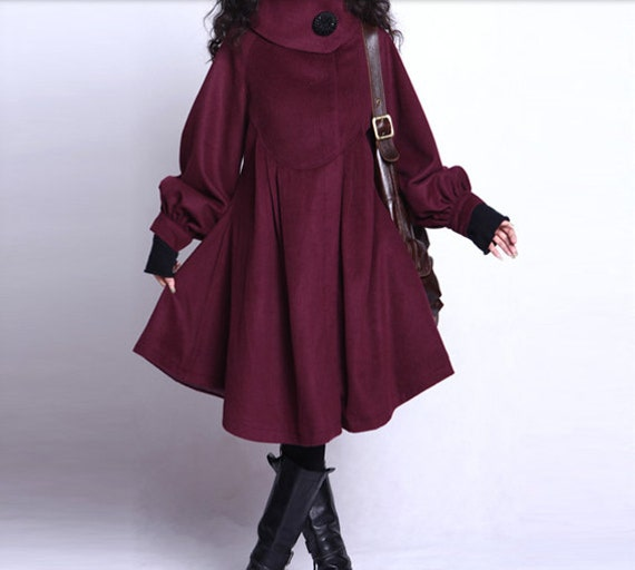 Big Sweep Wool Winter Coat Jacket for Women - Cusom Made - Claret