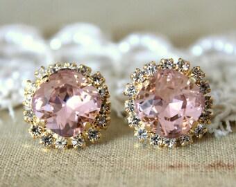 Blush Swarovski Earrings,Blush Earrings,Bridal Blush Swarovski Stud Earrings,Bridesmaids Earrings,Blush Crystal Earrings,Gift for her
