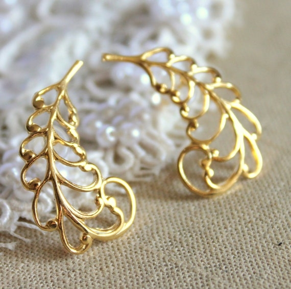 Gold stud feather earrings plated 14k Gold