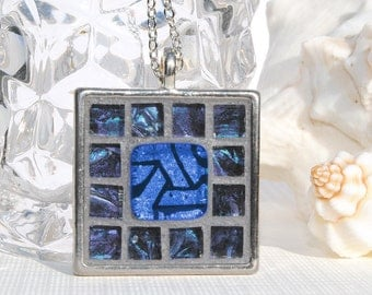 Mosaic Art Pendant, Dichroic Glass, Mirrored Art Glass, Square, Tray Pendant, Handcrafted, Artistic, Blue Purple, Unique Gift (Item 10500-P)