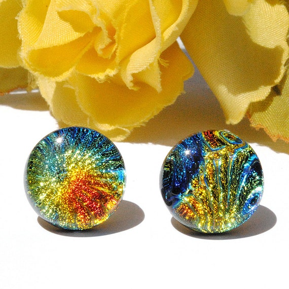 "Dichroic Button Stud Earrings, Fused Glass Jewelry, Post, Round, Circle, Tie Dye, Groovy, Hippie, Colorful, 1/2"" 1.3cm (Item 30402-E)"