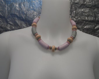 Vintage Lavender/Pastel Wood Bead 80's Necklace