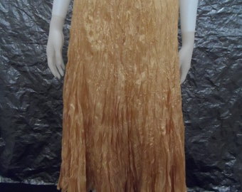 CLEARANCE  Vintage Mustard Origami Crinkled 90's Maxi Skirt  S/M