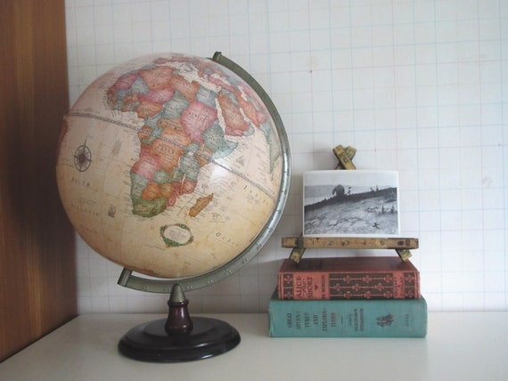 Vintage Cram's Globe..........soft aged pastels..........wood base......metal axis