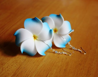 Blue Flower Earrings Plumeria, Frangipani Floral Earrings, Hawaii Jewelry Hawaiian Jewelry Tropical Flower Flower Jewelry Floral Jewelry 020