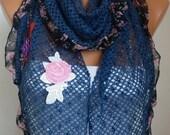Blue Scarf - Sequin Scarf -  Shawl scarf shawl -  women scarves  - fatwoman