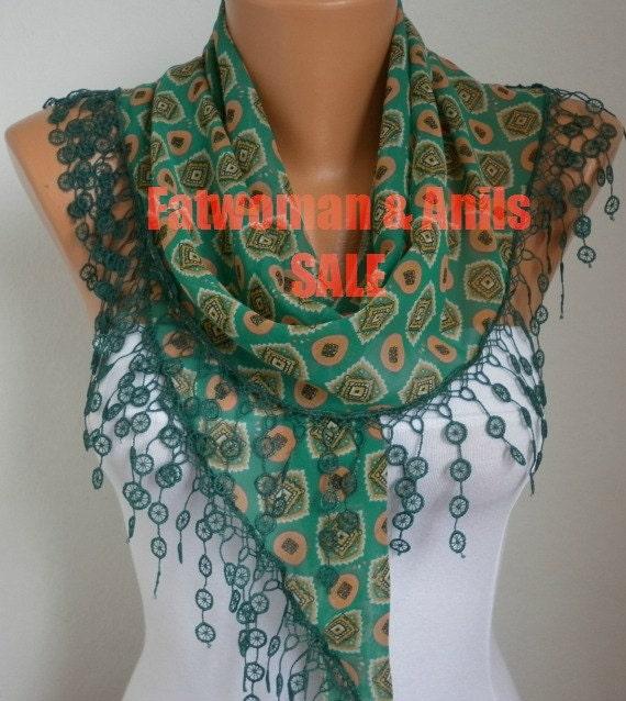 Fatwoman Anils - scarf shawl - Lace Scarf - Sale scarf -  Free scarf - Multicolor -