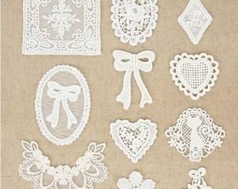 10 Pcs Lace Fabric Doily Trim Lace Fabric Trim Embroidery Lace Gauze Sets
