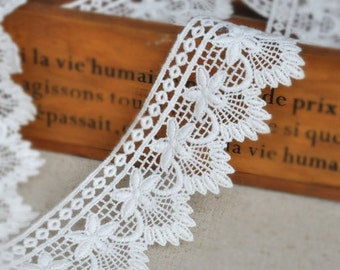 White Embroidery Lace Trim Lace Cotton Embroidery  1Yard 5.5cm Wide