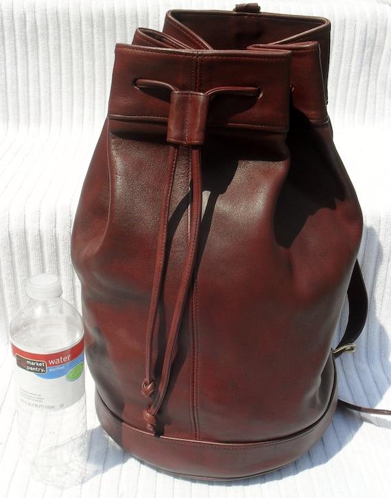 MASSIVE ---RARE--Vintage COACH-- Authentic--Coach--Purple Burgundy Leather Drawstring bag---Gorgeous Massive Bag