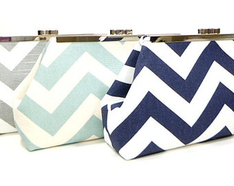 Chevron Bridesmaid Clutches Wedding Party Clutches Bridal Party Purses Choose Your Fabric Set of 4