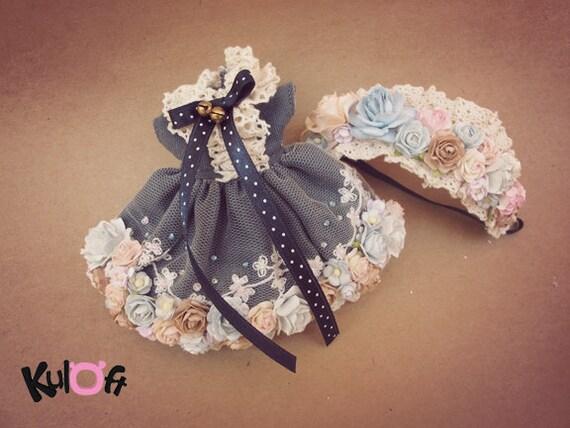 Flowers Dress and flowers headband For Blythe