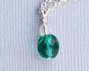 Emerald Green Crystal Necklace and Earring Set - Great for May birthdays
