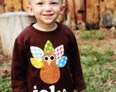 Thanksgiving Turkey Shirt- You Choose Shirt Color and Sleeve Length
