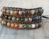Handmade Leather Wrap Bracelet - Fancy Jasper on leather